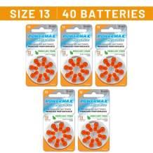Powermax Size 13 Hearing Aid Batteries, Orange Tab, 40 Count