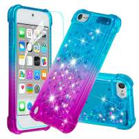 iPod Touch 7 Case, iPod Touch 6 Case, iPod Touch 5 Case with Screen Protector for Girls Women,HAOTP Glitter Bling Quicksand Liquid Protective Case for iPod Touch 7th /6th /5th Gradient Blue
