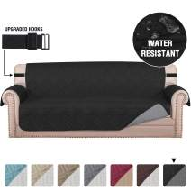 """Quilted Sofa Cover Protector Couch Cover Water Repellent Sofa Slipcover for Pets Dogs Furniture Protector Cover for 3 Cushion Couch, Non-Slip Thick Strap (Sofa 70"""", Reversible Black/Grey)"""