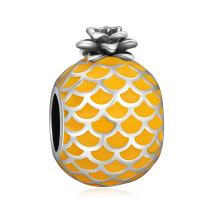 LONAGO 925 Sterling Silver Pineapple Fruit Charm Jewelry Yellow Enamel Bead Fit Pandora Bracelet for Women Mom