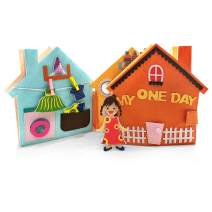 MOVEBO-My One Day, My Busy Book for Early Learning - Soft Fabric Montessori Books for Toddlers - Good Gift for 3 Year Old