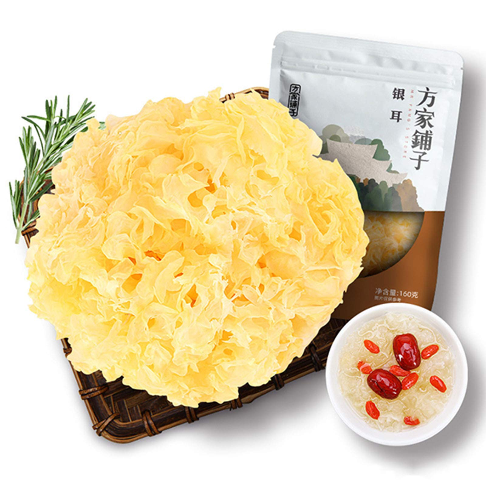 Tremella White Fungus Snow Fungus, Hardcover Dry Goods, Physical Preservation Independent Installation, Natural No Bleaching Sulfur-free, Premium Grade 5.7 Oz Bag (0.36lb)