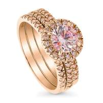 BERRICLE Rose Gold Plated Sterling Silver Halo Engagement Wedding Ring Set Made with Swarovski Zirconia Morganite Color Round 1.58 CTW