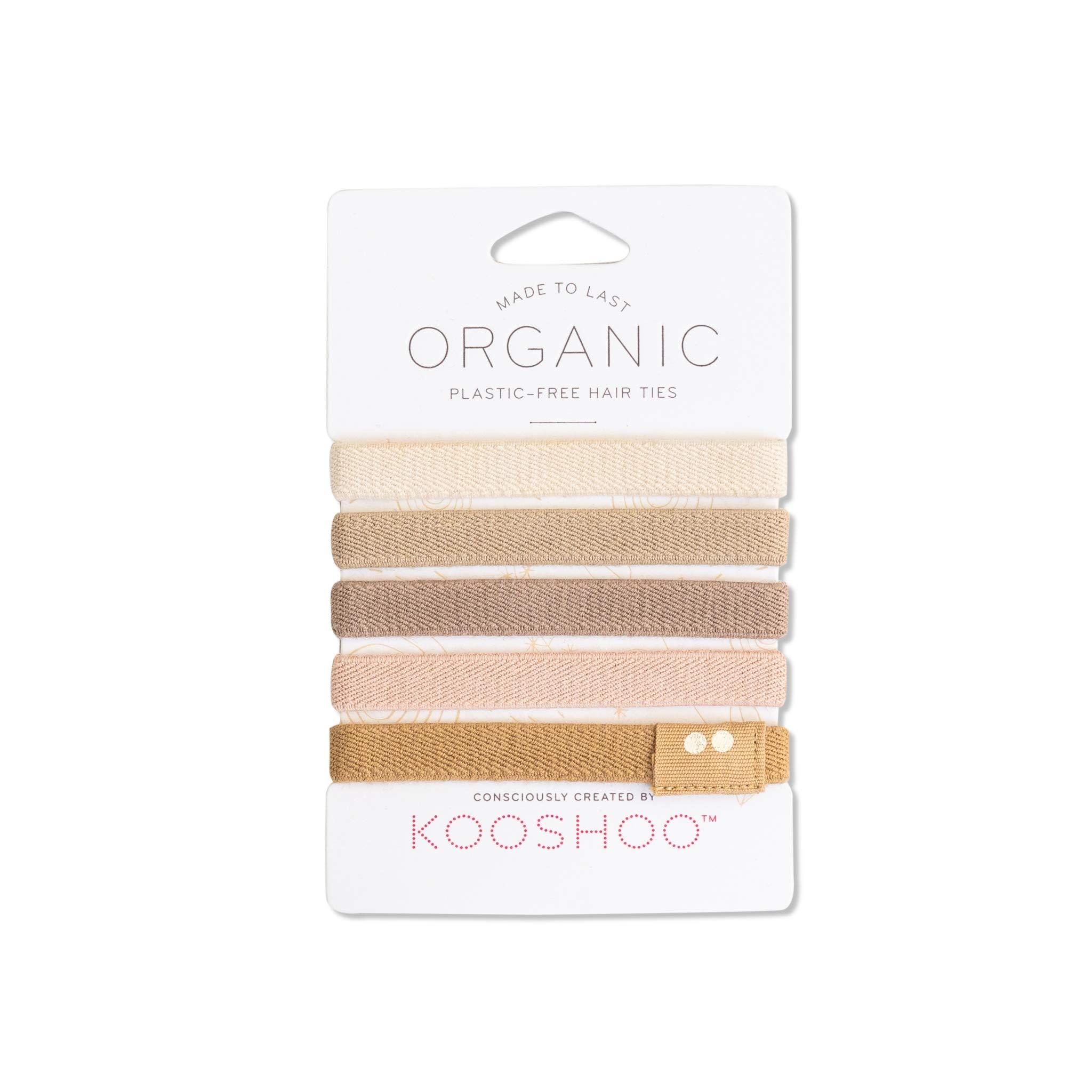 BIODEGRADABLE HAIR TIES in Blond by KOOSHOO | Plastic-Free, Certified Organic Cotton Hair Elastics (5 Pack)