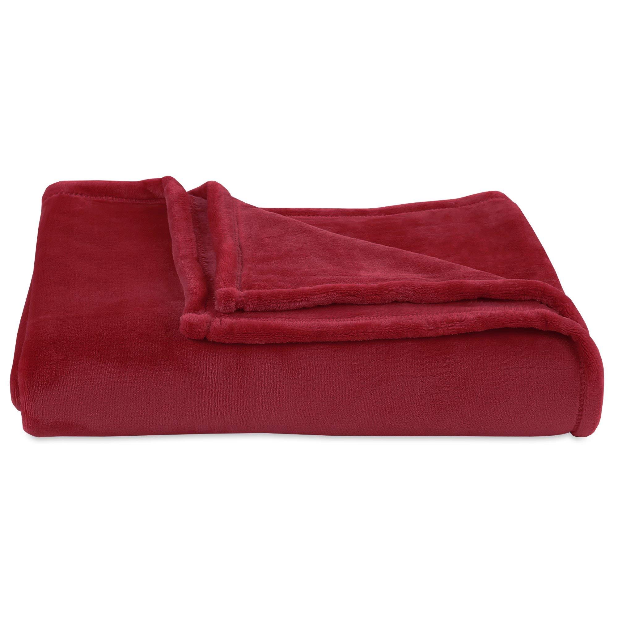 "Berkshire Blanket VelvetLoft Ultra Soft Cozy Warm Luxury Plush Throw Blanket, Rustic Red, 60"" x 70"""