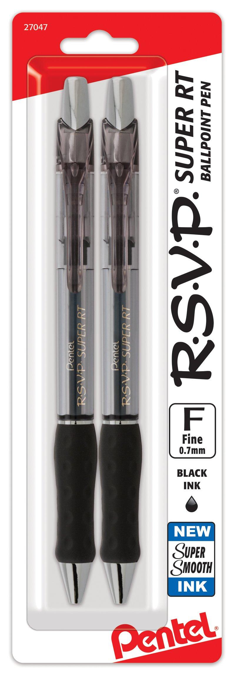 Pentel RSVP Super RT Ballpoint Pen, (0.7mm) Fine Line, Black Ink, 2-Pk - BX477BP2A