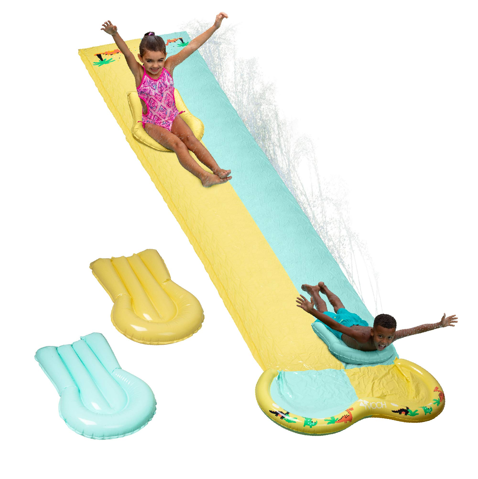 Hoovy Double Multi-Colored Lane Water Slide with Splash Landing | Two Body Boards Included for Kids | Lawn Inflatable Double Water Slides 180 x 53 in. | Watersports for Kids | Outdoor Summer Toys