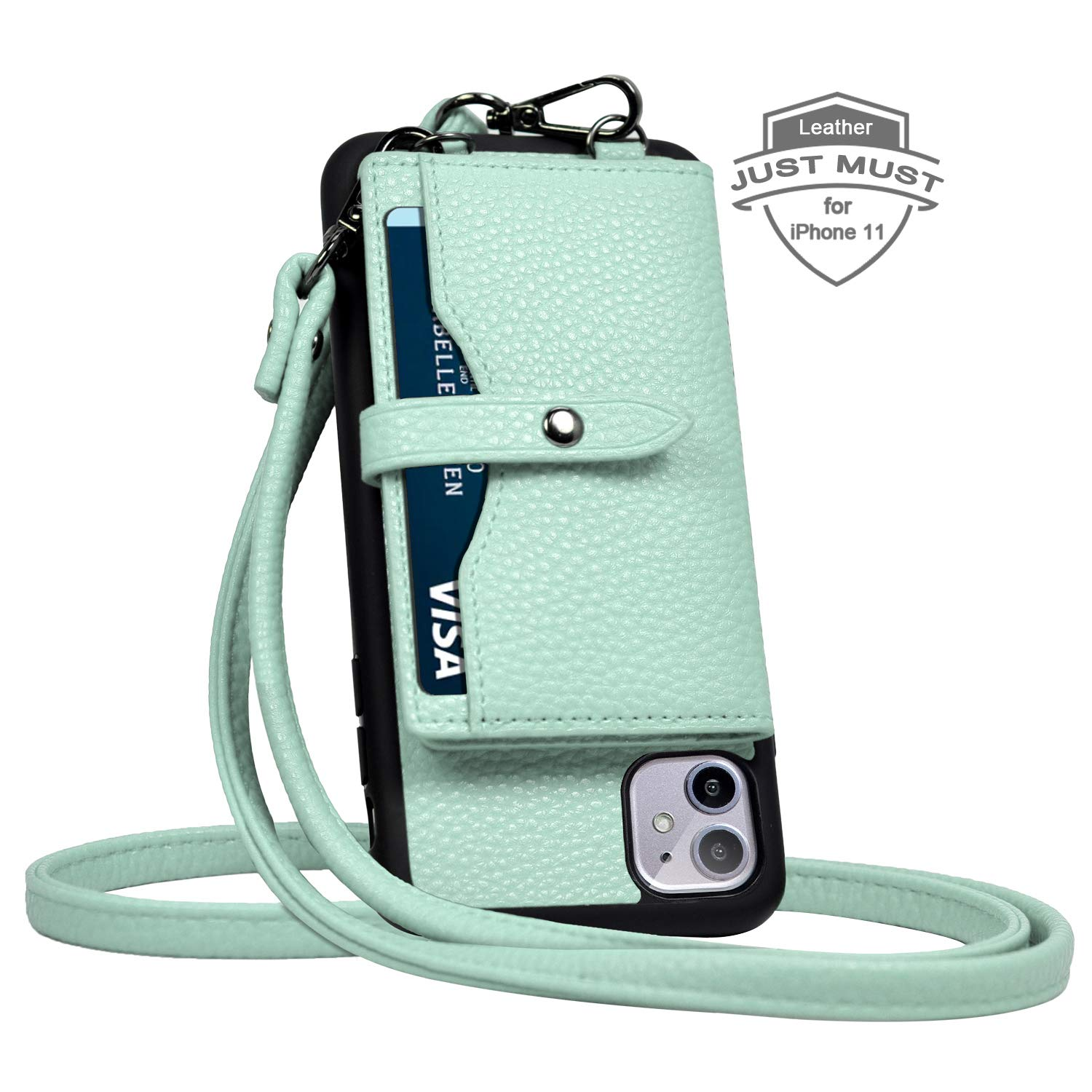 JM JUST MUST iPhone 11 Wallet Case,iPhone 11 Crossbody Case with Credit Card Holder case,iPhone 11 Strap Case,Leather Case Protective Cover for iPhone 11 6.1 inch_Light Green