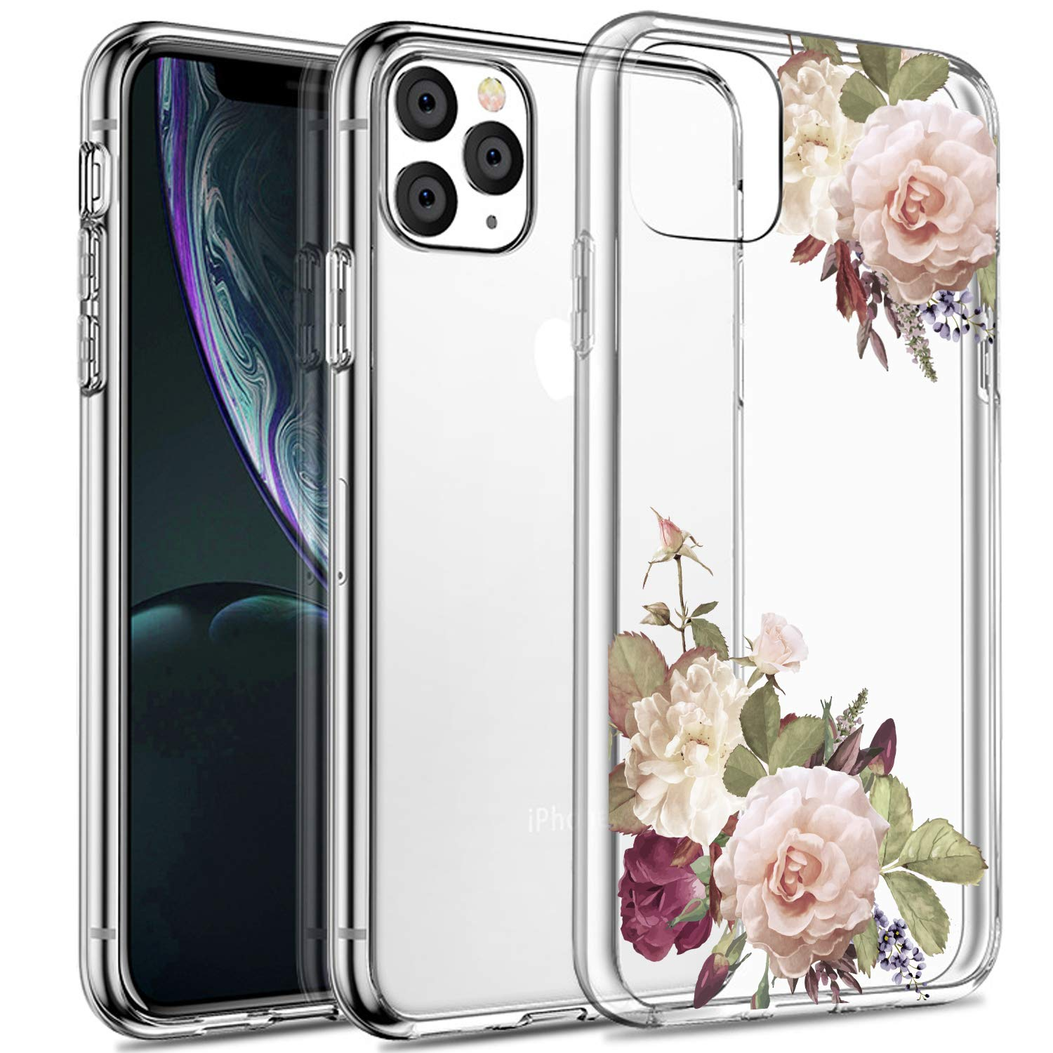 SPEVERT iPhone 11 Pro Case 5.8 inches, Flower Pattern Printed Clear Design Transparent Hard Back Case with TPU Bumper Cover for iPhone 11 Pro 5.8 inch 2019 Released - White Rose