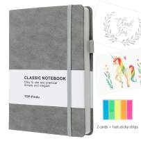 Notebook A5 Journal, Thick Hardcover Executive Notebooks with Pen Loop - Premium Thick Paper (A5) - 240 Pages - Bookmarks, Elastic Closure, Back Pocket, 1 Set Sticky Notes Strips+ 2 Thanks cards