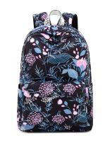 H HIKKER-LINK Leaves Pattern Laptop Backpack Travel Rucksack College Bookbag Black
