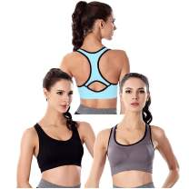 3 Pack Women Racerback Sports Bras High Impact Workout Bra for Yoga Gym Workout Fitness