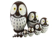 Adorable Lovely Animal Theme Big Round Eyes Brown Wise Owl Egg Shape Wooden Handmade Nesting Dolls Matryoshka Dolls Set 10 Pieces for Kids Toy Birthday Home Kids Room Decoration