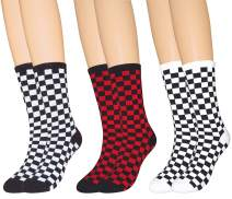 WEILAI Unisex Classic Grid Funky Street Middle Tube Hip-Hop High Stocking Casual Socks