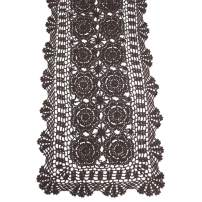 KEPSWET Cotton Handmade Crochet Lace Table Runner Dark Brown Rectangle Coffee Table Dresser Decor (14x72 inch)
