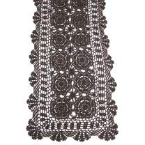 KEPSWET Cotton Handmade Crochet Lace Table Runner Dark Brown Rectangle Coffee Table Dresser Decor (14x48 inch)
