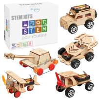 5 in 1 STEM Kit, Wooden Mechanical Model Cars Kits, Motorized Construction Engineering Set, Assembly Constructor 3D Building Blocks Educational DIY STEM Toys for Boys and Girls