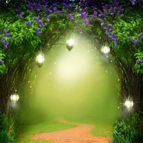 AOFOTO 6x6ft Fantasy Garden Backdrop Beautiful Flower Trees Fairy Tale Lamps Photography Background Dreamlike Forest Magic Wonderland Blurry Pathway Photo Studio Props Child Girl Portrait Wallpaper