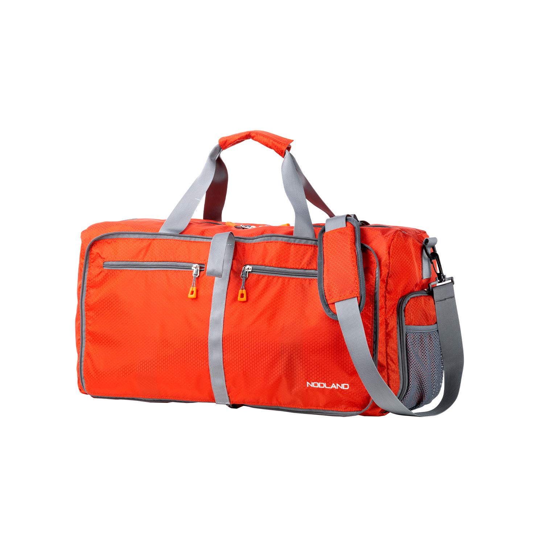 NODLAND 50L Packable Travel Duffle Bag Light Weight Foldable Duffel Bag, Water Resistant Gym Bag Orange
