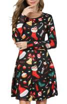 RJXDLT Womens Ugly Christmas Dresses Long Sleeve Print Xmas Casual Swing Party Dress