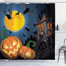 """Ambesonne Halloween Shower Curtain, Gothic Halloween Haunted House Party Theme Design Trick or Treat Motifs Print, Cloth Fabric Bathroom Decor Set with Hooks, 84"""" Long Extra, Orange Black"""