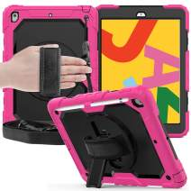 FANSONG iPad 10.2 7th Generation Case 2019 with Pen Slot Full Body [Screen Protector] Rugged Shockproof Heavy Duty 360 Rotating Stand Cover with [Hand & Shoulder Strap] for iPad 10.2 Inch 2019