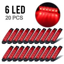 "Partsam 20Pcs Red 3.8"" 6 LED Red Side Marker Light Indicator Light Rear Side Marker Light for Truck Trailer RV Cab Boat Bus Lorry LED Marker Light Light Sealed Surface Mount"