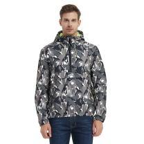 Rokka&Rolla Men's Water-Resistant Hooded Quick Dry Athletic Windbreaker Jacket Hoodie