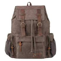 Canvas Vintage Backpack, P.KU.VDSL Mens Backpack for Travel Casual School Daypack
