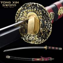 YONG XIN SWORD-Samurai Katana Sword, Japanese Handmade, Practical, high Manganese Steel, Tempered/Clay Tempered, Full Tang, Sharp, Scabbard