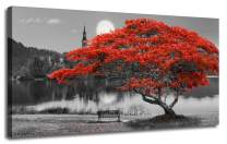 """Canvas Wall Art Painting Red Tree Lake Moon Picture One Panel Extra Large Size, Modern Panoramic Landscape Artwork Prints for Home Office Mural Décor, Ready to Hang, Wooden Framed 60""""x30"""""""