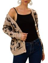 Damissly Womens Knitted Cardigans Leopard Long Sleeve Open Front Sweaters Button Down Tops Casual Coat