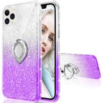 Maxdara Case for iPhone 11 Pro Max Case Glitter Ring Kickstand Case for Girls Women with Bling Sparkle Diamond RhinestoneStand Holder Case for iPhone 11 Pro Max 6.5 inches (Silver Purple)