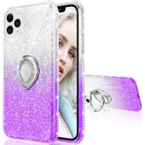 Maxdara Case for iPhone 11 Pro Max Case Glitter Ring Kickstand Case for Girls Women with Bling Sparkle Diamond Rhinestone Stand Holder Case for iPhone 11 Pro Max 6.5 inches (Silver Purple)
