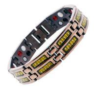 Mandala Crafts Mens Copper Tone Titanium Magnetic Bracelet, Wristband Jewelry Gift (Thin Gold Tone, Copper Tone Titanium)