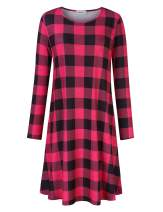 Clearlove Womens Long Sleeve Plus Size Tunic Dress A-line Casual Tshirt Dress Plaid Red XL