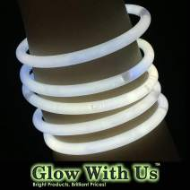 "Glow Sticks Bulk Wholesale Bracelets, 100 8"" White Glow Stick Glow Bracelets, Bright Color, Glow 8-12 Hrs, 100 Connectors Included, Glow Party Favors Supplies, Sturdy Packaging, GlowWithUs Brand"