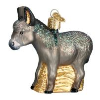 Old World Christmas Ornaments Farm Animals Glass Blown Ornaments for Christmas Tree, Donkey