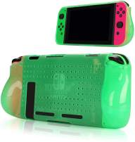 Protective Case Compatible with Nintendo Switch, Grip Cover Case with Shock-Absorption and Anti-Scratch Design Soft & Comfortable TPU Case for Nintendo Switch Console (Green)