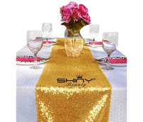 ShinyBeauty 12x108-Inch Sequin Table Runner Gold (1 Piece)