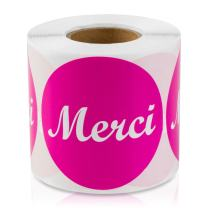 """Merci Labels French Thank You 2"""" Round (Pink / 300 Labels per Roll / 1 Roll)"""