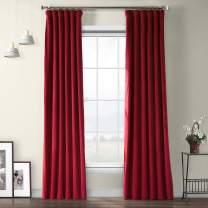 HPD Half Price Drapes VPYC-179758-96 Heritage Plush Velvet Curtain (1 Panel), 50 X 96, Cinema Red
