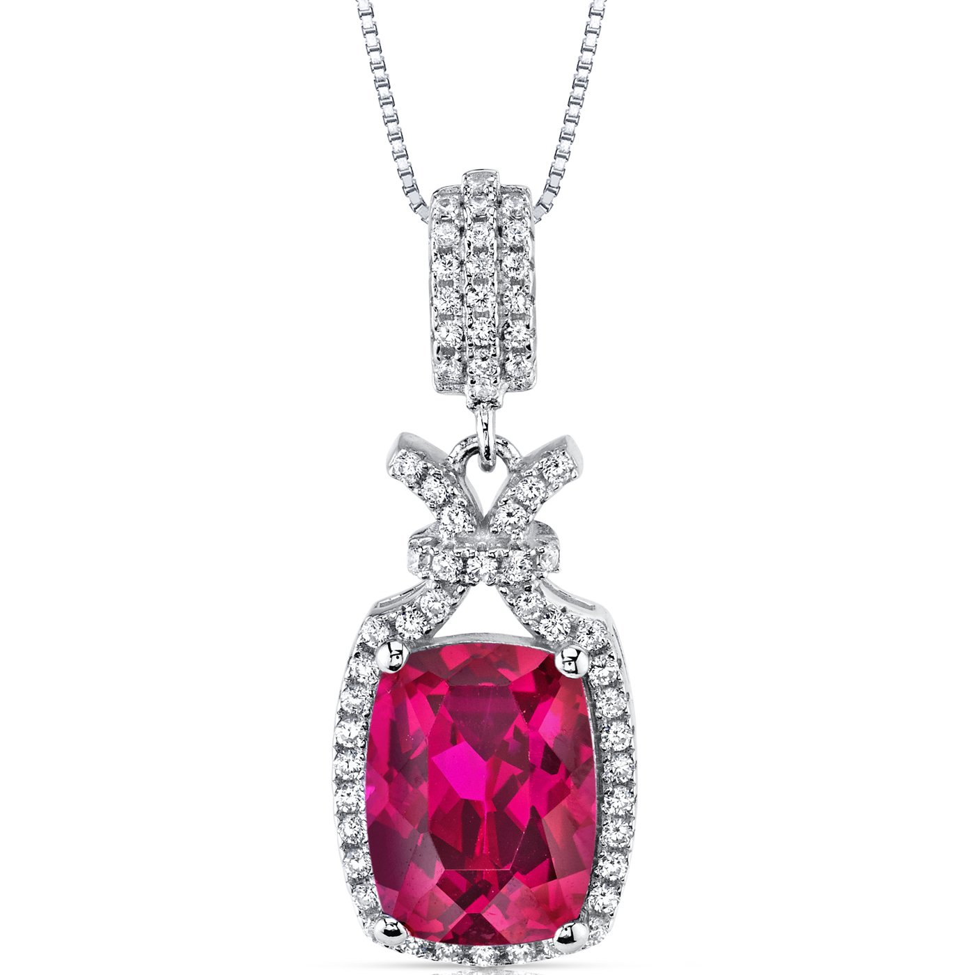 5.00 Carats Created Ruby Pendant Necklace Sterling Silver Cushion Cut