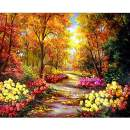 MXJSUA DIY 5D Diamond Painting Full Square Drill Kits Rhinestone Picture Art Craft for Home Wall Decor 14x18In Autumn Landscape Blossom