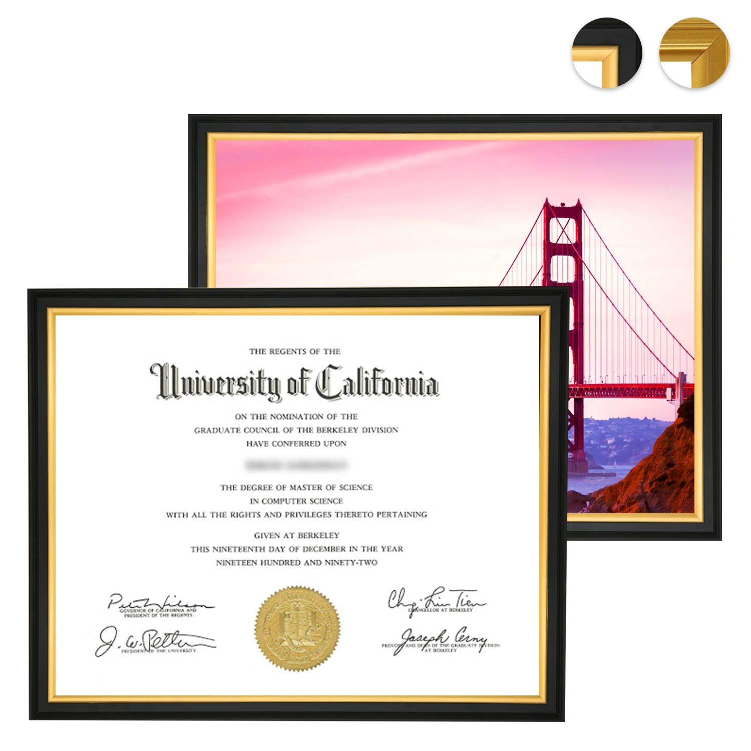 CREKERT Diploma Frame 8.5 x 11 Frame for Picture Documents Certificate Frame for Wall and Desk Real Solid Wood Golden Rim (Black Gold, 2 Pack)
