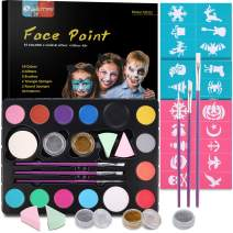 Face Paint Kits for Kids, Semai 30 Stencils, 14 Colors Professional Face Painting Kits 2 Glitters 3 Brushes Halloween Makeup Kit, Great for Birthday Party and Halloween Makeup, Face Painting Book