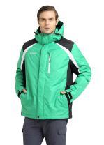 Krumba Men's Sportswear Waterproof Windproof Hooded Green Ski Jacket