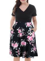 Nemidor Women's V-Neck Print Pattern Casual Work Stretchy Plus Size Swing Dress with Pocket