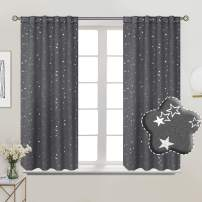 BGment Rod Pocket and Back Tab Blackout Curtains for Kids Bedroom - Sparkly Star Printed Thermal Insulated Room Darkening Curtain for Nursery, 38 x 54 Inch, 2 Panels, Grey