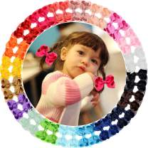"""40pcs 3"""" Grosgrain Ribbon Hair Bow Alligator Clips Hair Accessories for Baby Girls Infants Toddler Teens Kids 20 Colors in Pairs"""